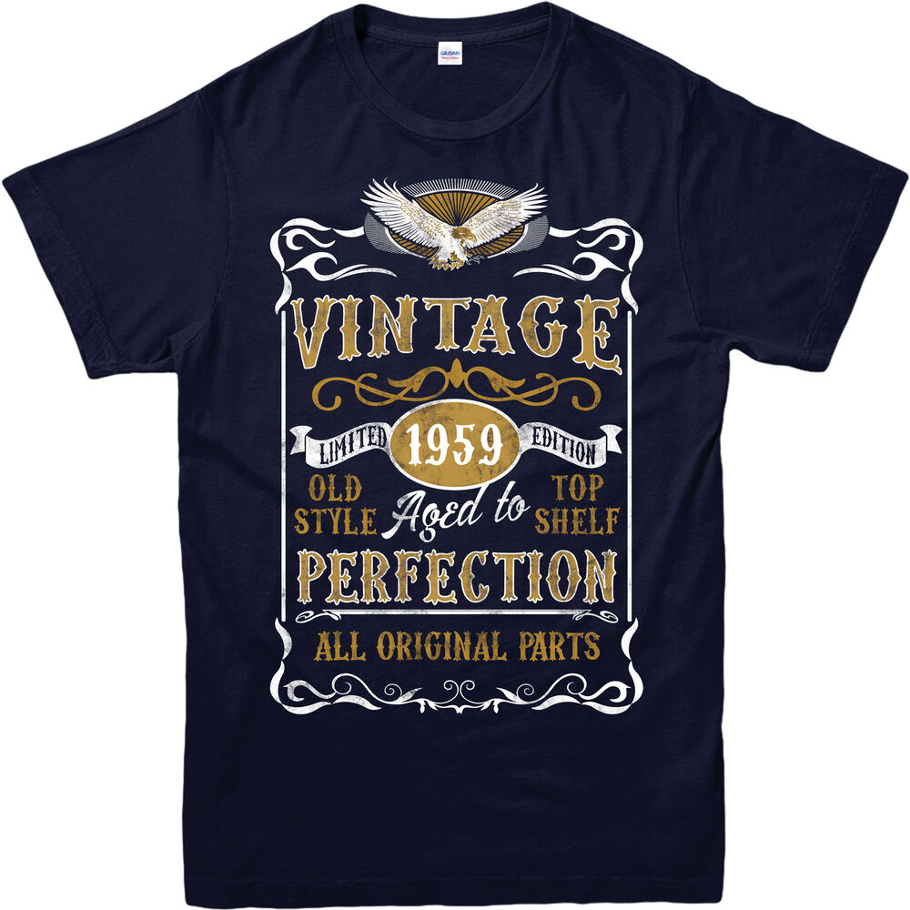 42bcd0b64 Details about Personalised Made in 1959 Vintage T-Shirt, Born 1959 Birthday  Age Year Gift Top