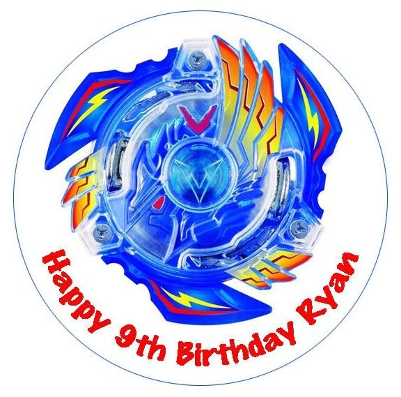 1 x beyblade burst 19cm round personalised cake edible for Anime beyblade cake topper decoration set
