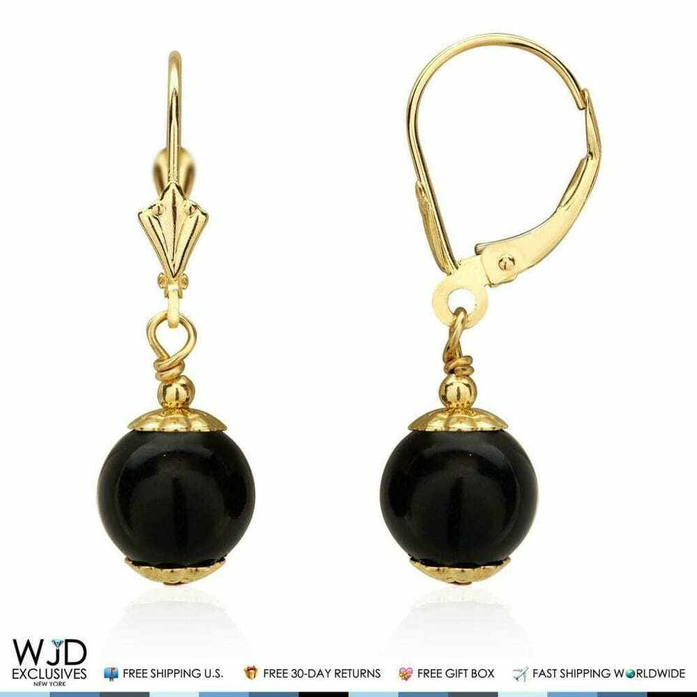 14k solid yellow gold 8 mm ball shaped onyx leverback. Black Bedroom Furniture Sets. Home Design Ideas