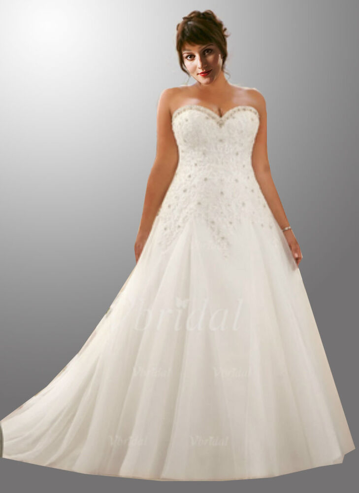 Us wedding dress plus size white ivory lace bridal gown for Wedding dresses for size 16