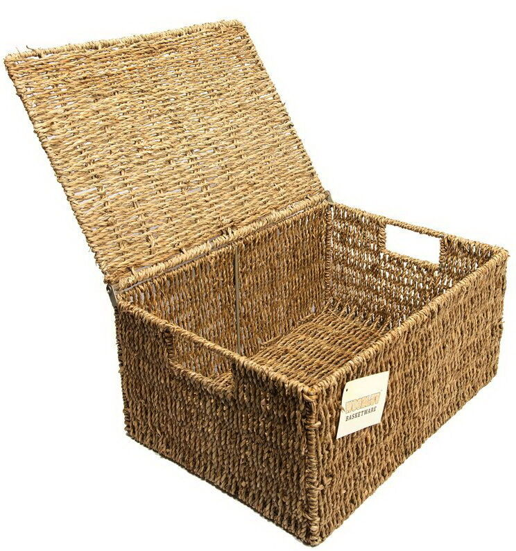 Wicker Baskets With Handles And Lid : Wicker storage basket organizer box with lid handles
