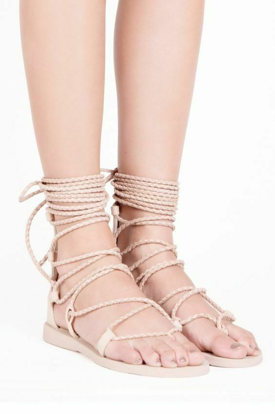 25c26c682916 Details about JEFFREY CAMPBELL HOLA LACE UP GLADIATOR FLAT LEATHER SANDAL  BEIGE DISTRESSED