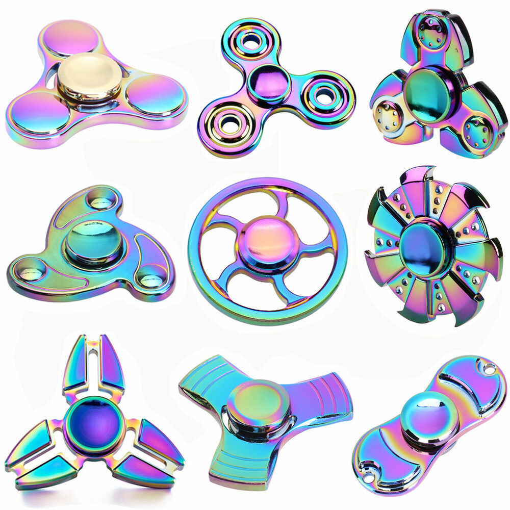 Metal Rainbow Hand Finger Spinner EDC Fidget Stress Relief ...