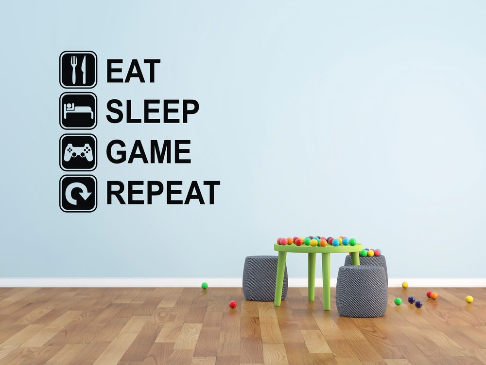Eat Sleep Game Repeat Wall Decal Mural Player Decor Gaming