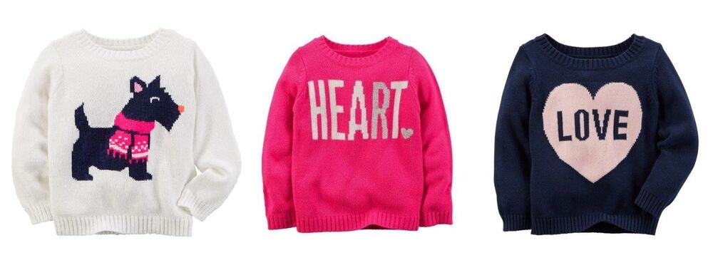 ec1cedd1d8 NWT  34 Carters Girls Graphic Cable Knit Sweaters Sizes 4 5 6 8 Scottie  Heart