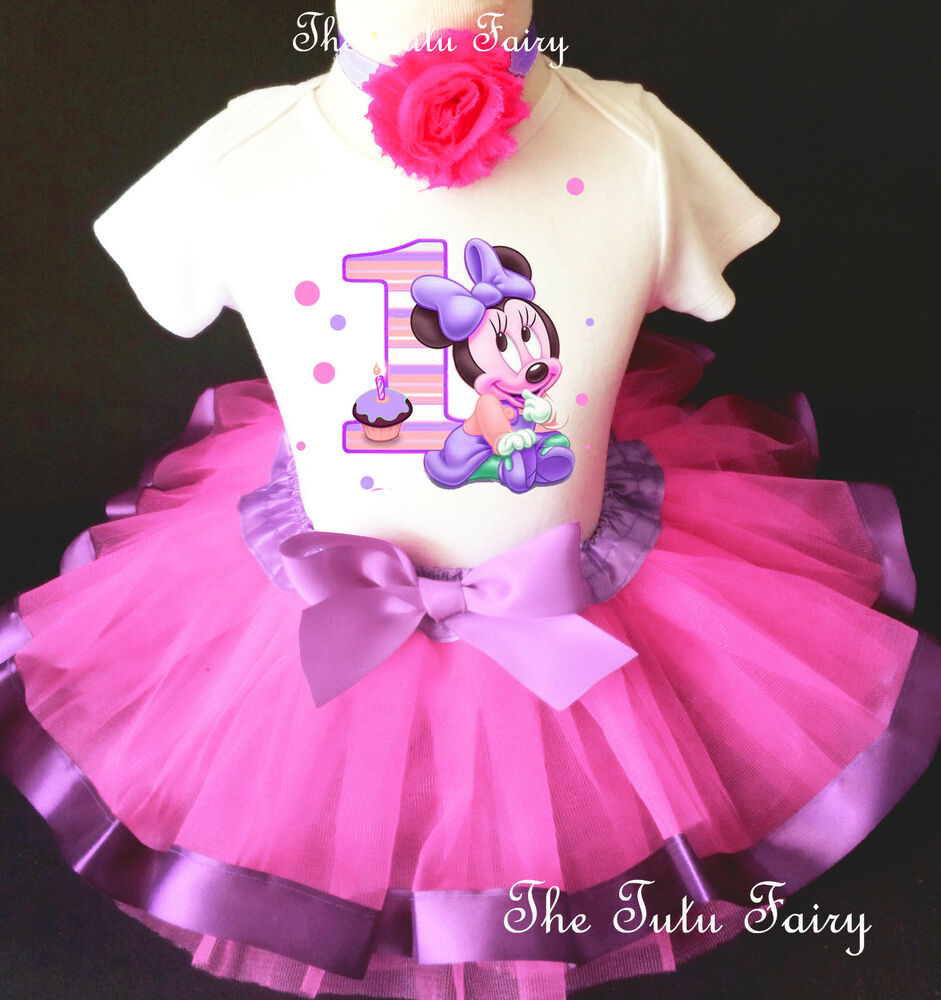 Baby Minnie Mouse Pink Lavender Girl 1st First Birthday