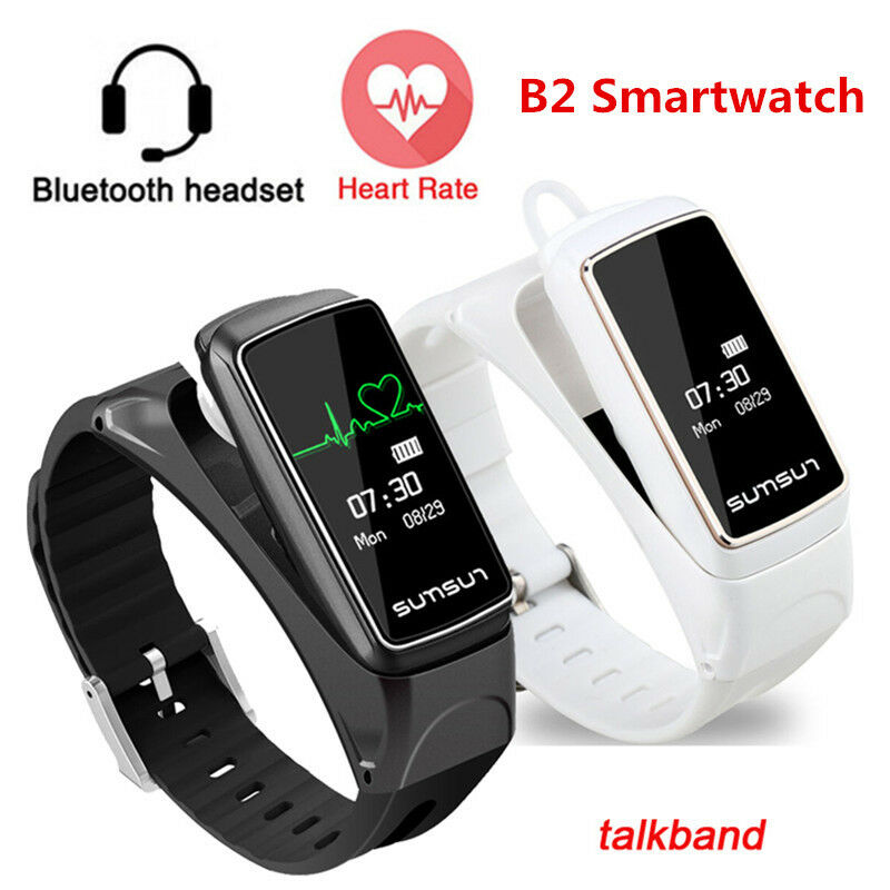B7 Smart Watch Bluetooth Heart Rate Monitor Fitness Headset Waterproof Wristband