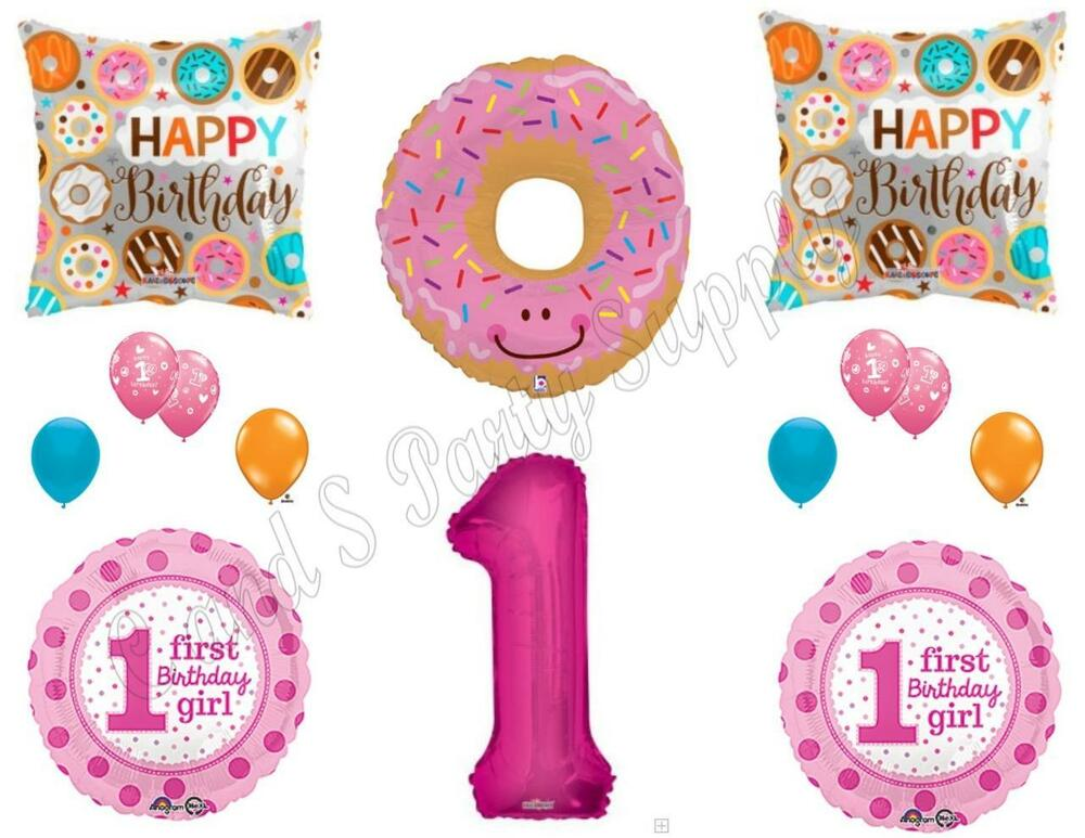 Donut grow up 1st birthday party balloons decoration for Balloon decoration equipment