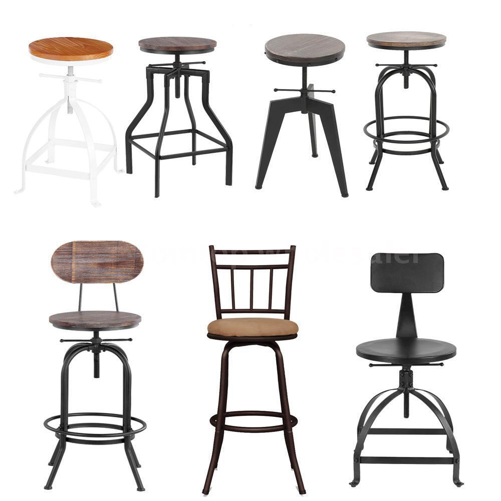 Industrial Wood Top Bar Stools Rustic Vintage Swivel