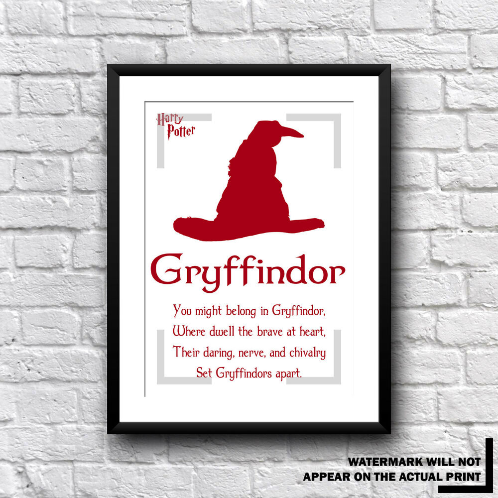 Harry Potter Gryffindor House Movie Print Sorting Hat Quote Gift