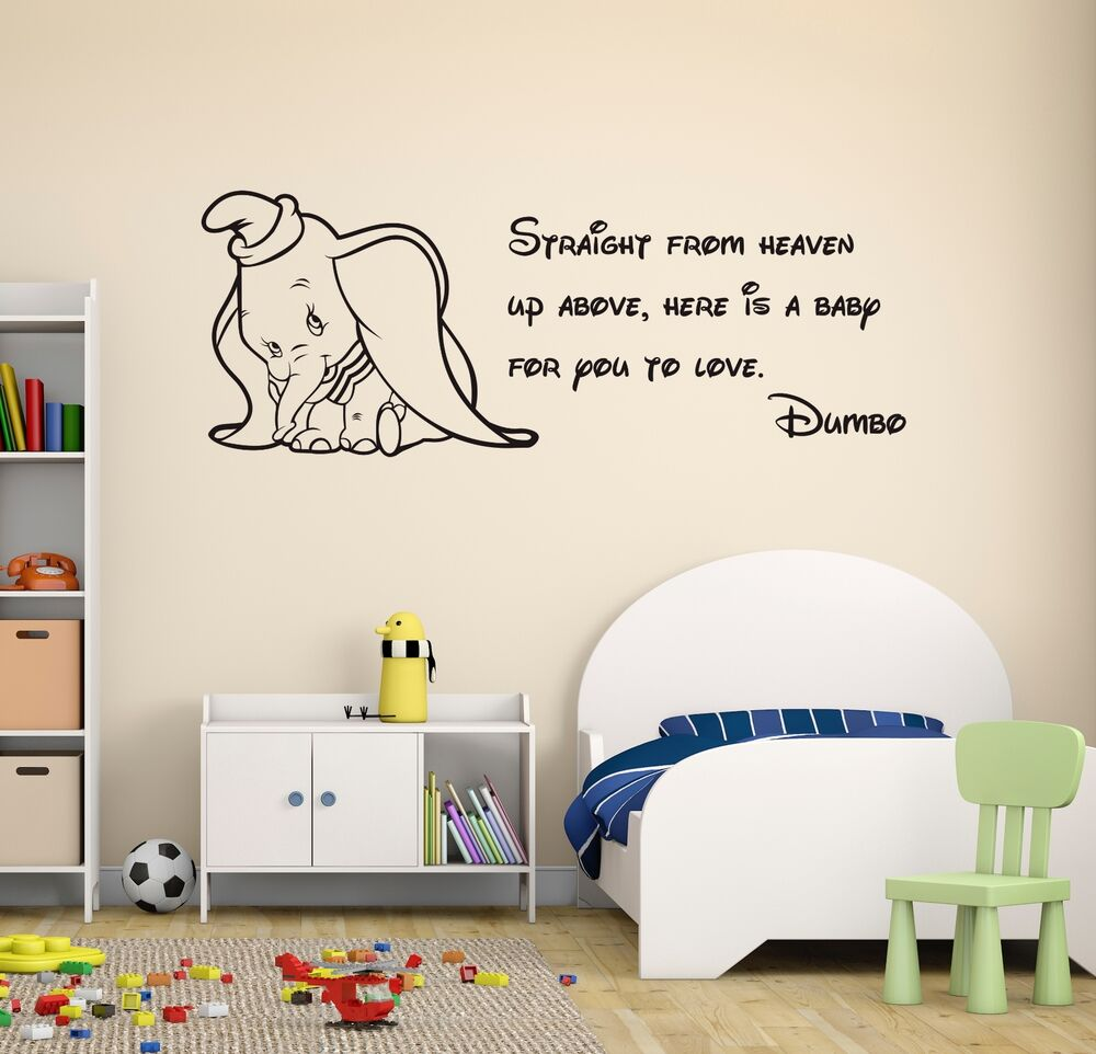 dumbo quote wall decal disney elephant nursery decor art. Black Bedroom Furniture Sets. Home Design Ideas