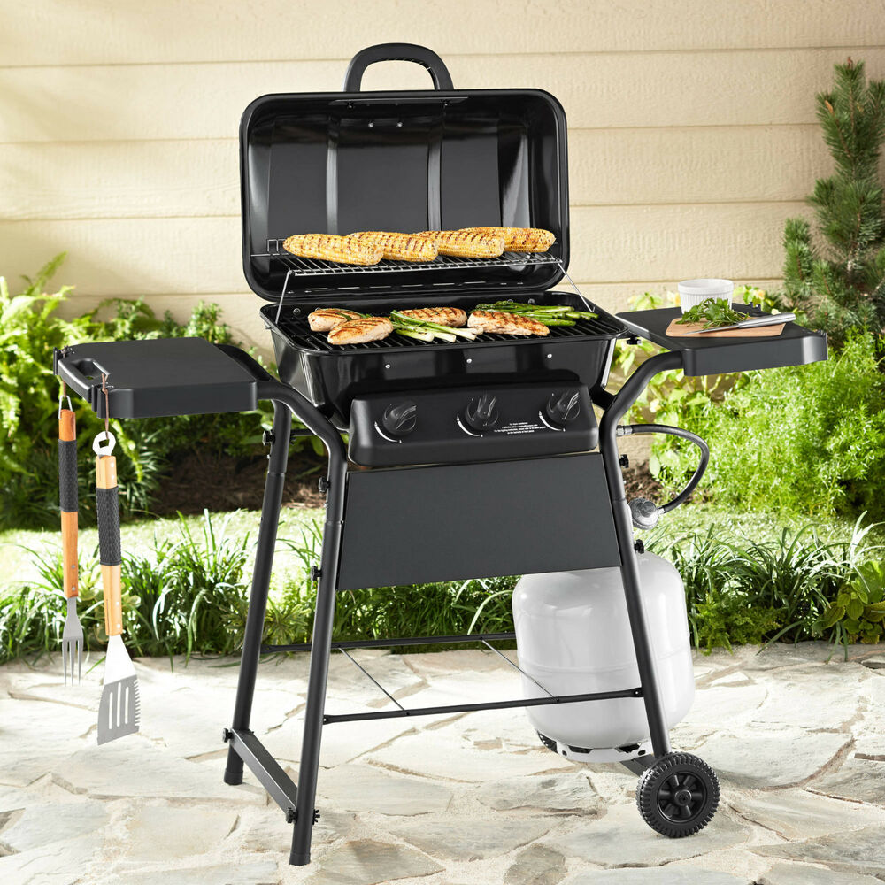 Gas grill 3 burner bbq backyard grill w side shelves for Gasgrill fur outdoor kuche