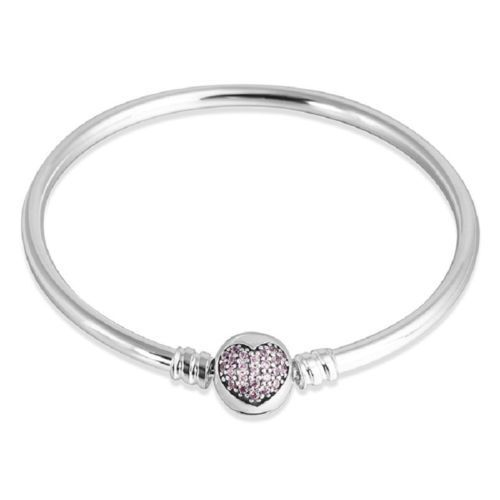 heart sparkling image silver bangles with bangle clasp pandora bracelet moments