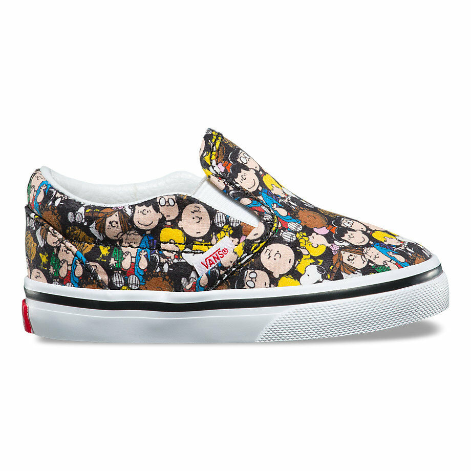 4d31c9b7cae37d Details about Vans x Peanuts Classic Slip-On Toddlers The Gang Black Shoes  New In Box
