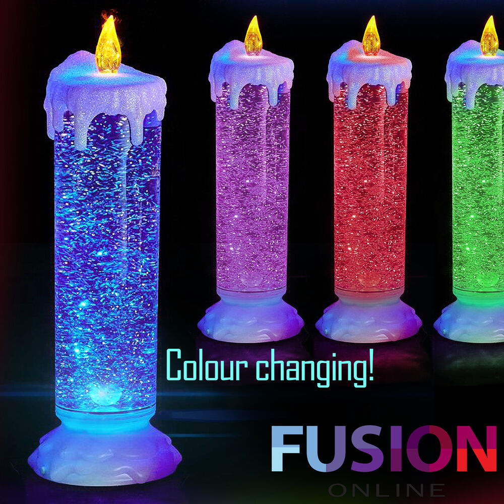 Led Candle Colour Changing Flickering Light Up Glitter