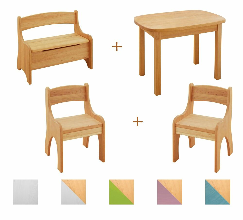kindersitzgruppe kindertisch mit bank und 2 st hlen stuhl bio holz erle neu ebay. Black Bedroom Furniture Sets. Home Design Ideas
