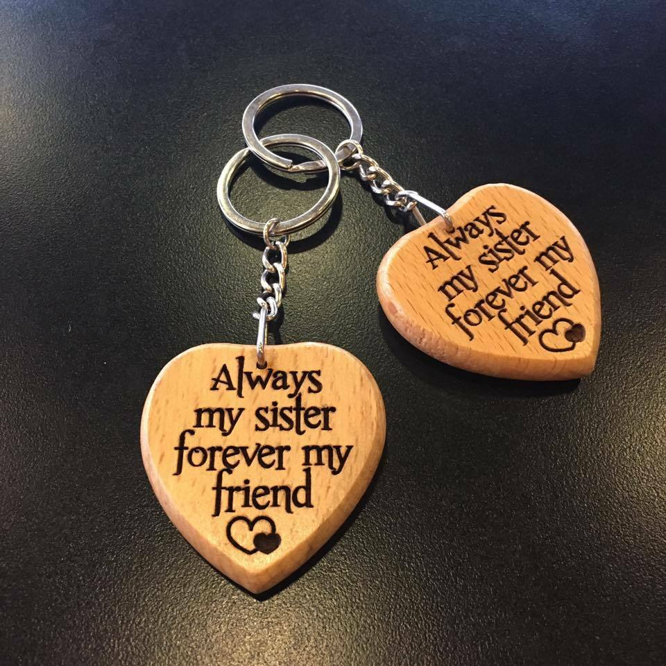 Details About Engraved Keyring Keychain Her Always My Sister Forever Friend Birthday Gift
