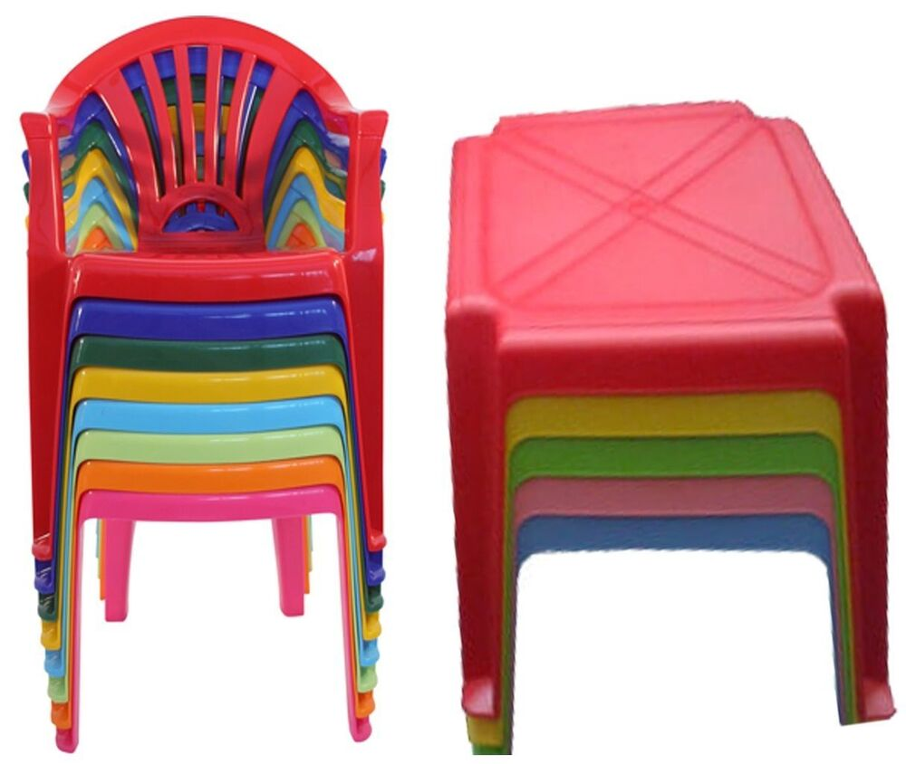 Strong Children Kids Plastic Table And Chairs Nursery Set