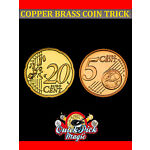 EU COPPER BRASS COIN 20c - 5c / MADE FROM REAL EURO COINS! CLOSE UP MAGIC TRICK!