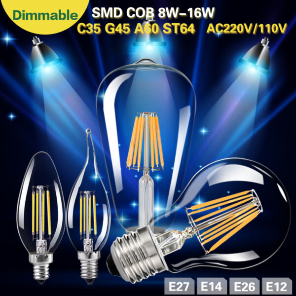 Dimmable 8/16W Vintage Edison Filament LED Bulb Chandelier Candle/Flame Lights
