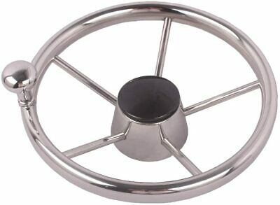 Stainless Steel 11'' Steering Wheel with Knob for Marine Boat / Yacht Polished