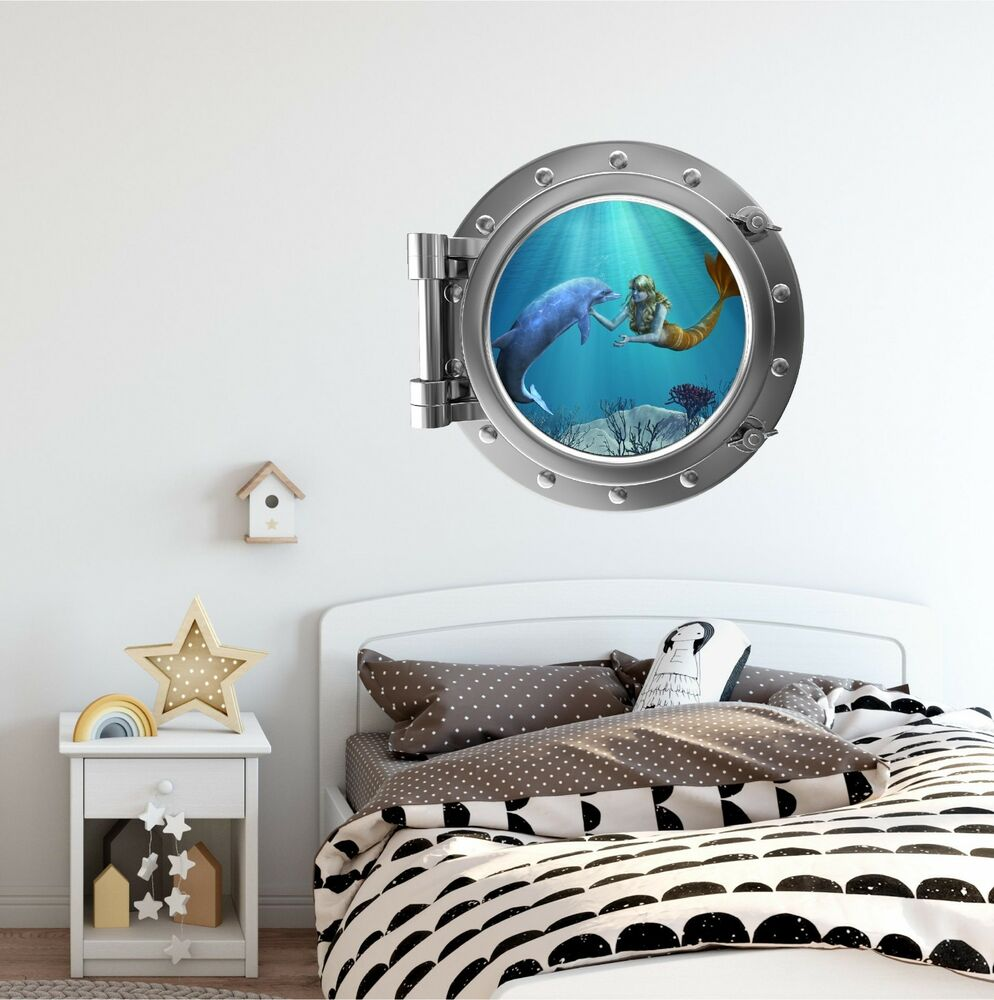 Decoration Items: Mermaid & Dolphin 1 Port Scape Wall Decal : Porthole Girls