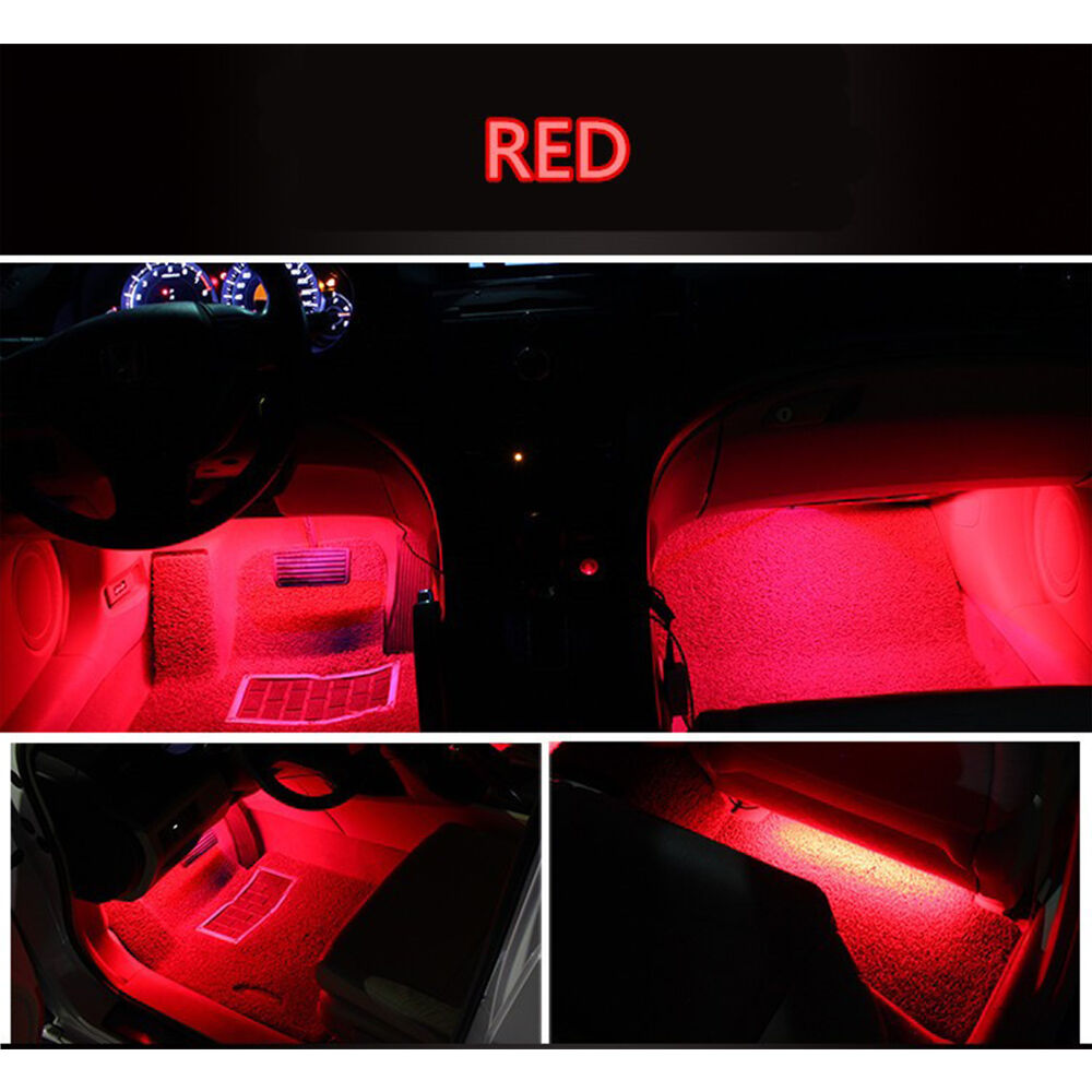 4x 9 led red charge interior accessories foot car decorative light lamps led red ebay. Black Bedroom Furniture Sets. Home Design Ideas