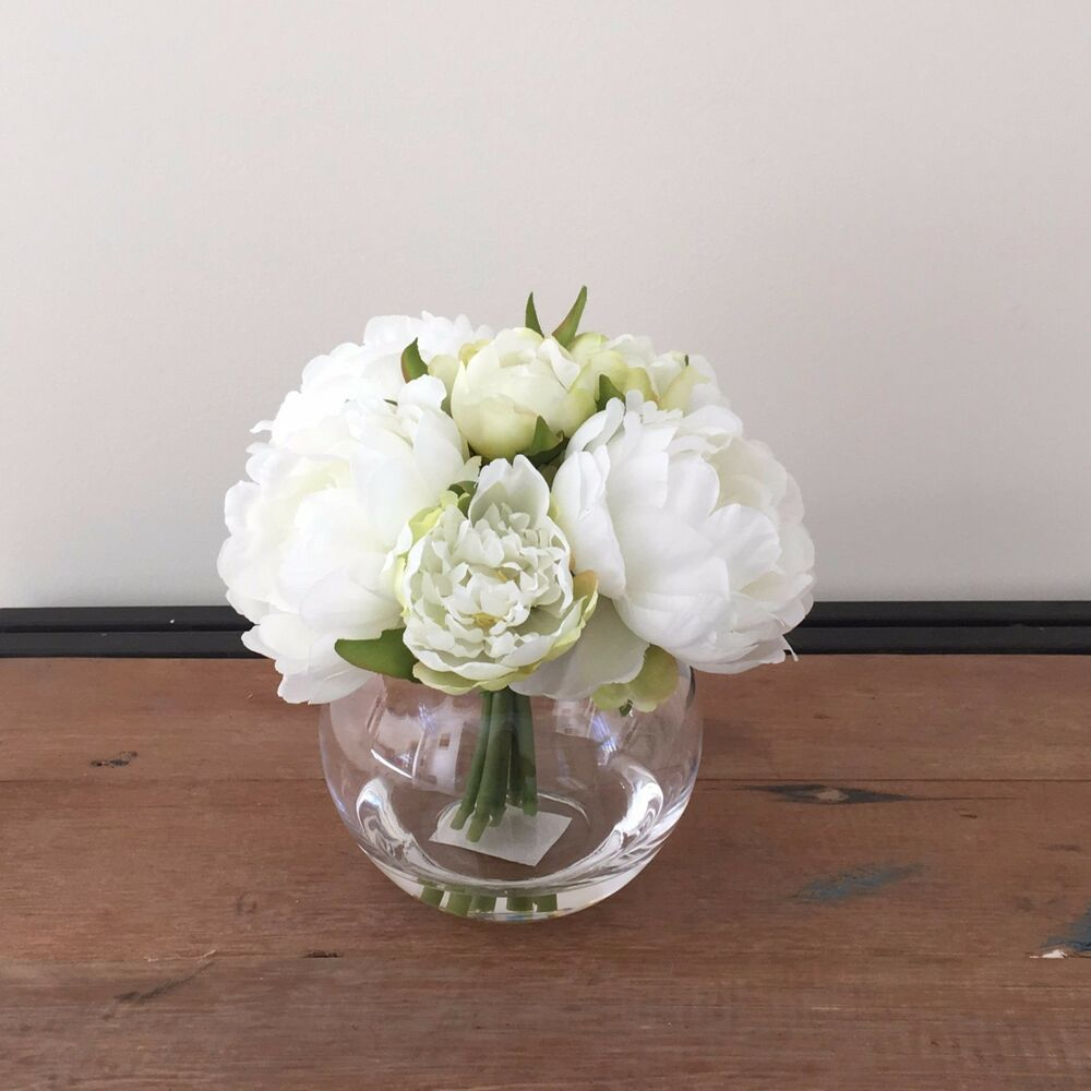 Artificial Fake Silk Flower White Peony Artificial Water Clear Glass