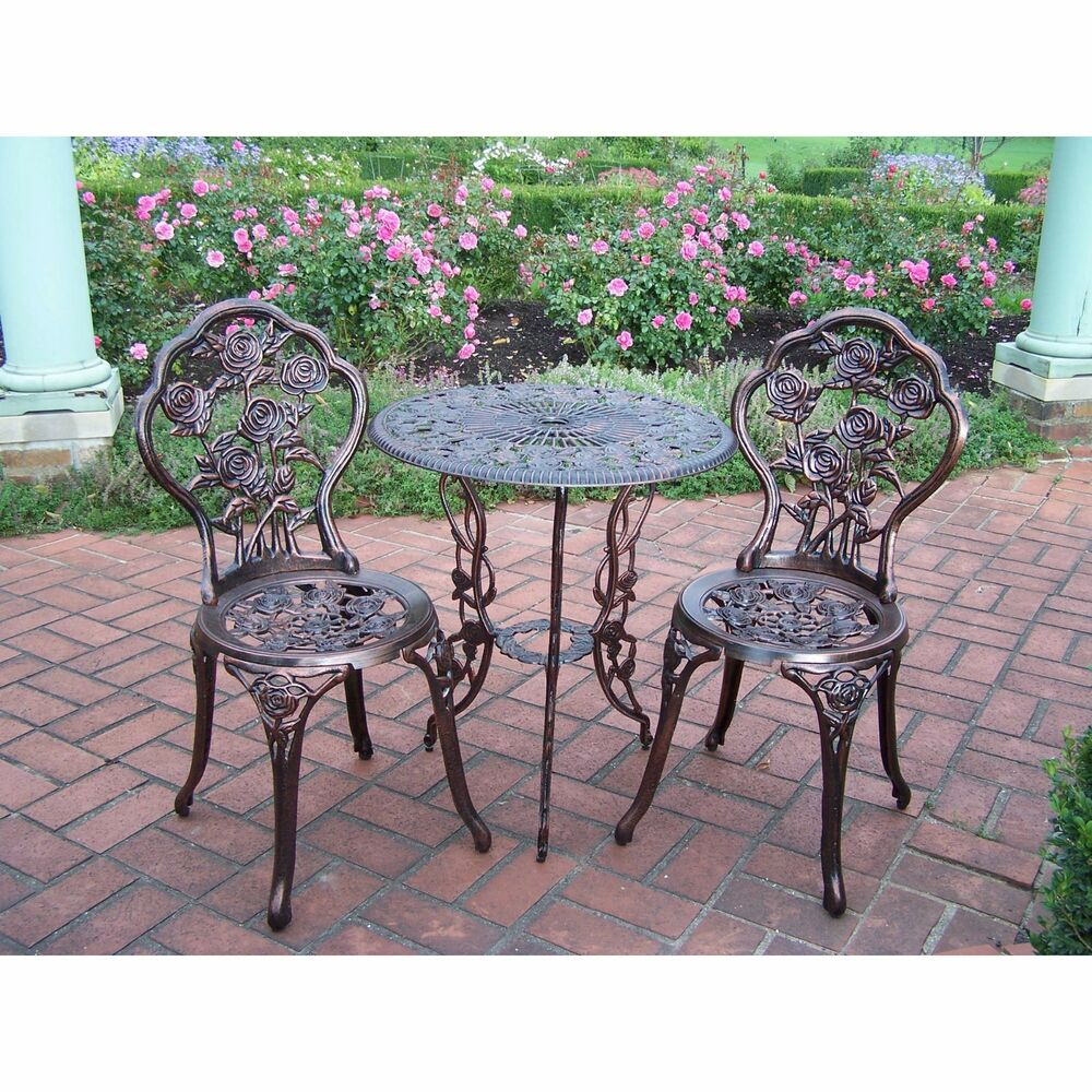 wrought iron rose patio set bistro table and chairs 3 pieces garden outdoor ebay. Black Bedroom Furniture Sets. Home Design Ideas