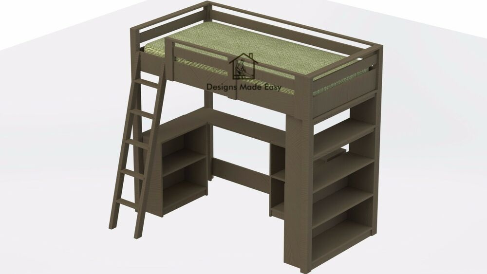 easy diy kids twin loft bed with desk and bookcases design plans ebay. Black Bedroom Furniture Sets. Home Design Ideas