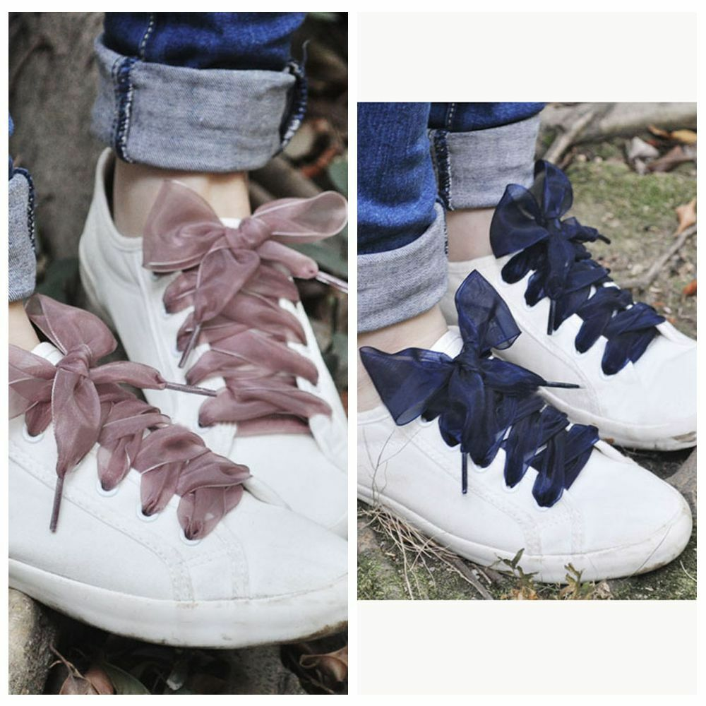 8bb45f74c082ae Details about Shoestrings Women Flat Silk Shoelaces Satin Ribbon Laces  Sneakers