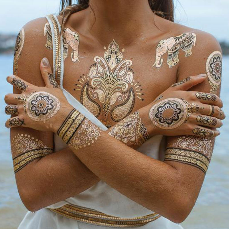 Henna Tattoo Kaufen Amazon: New Eid Festival Boho Henna Tattoo Metallic Temporary Gold
