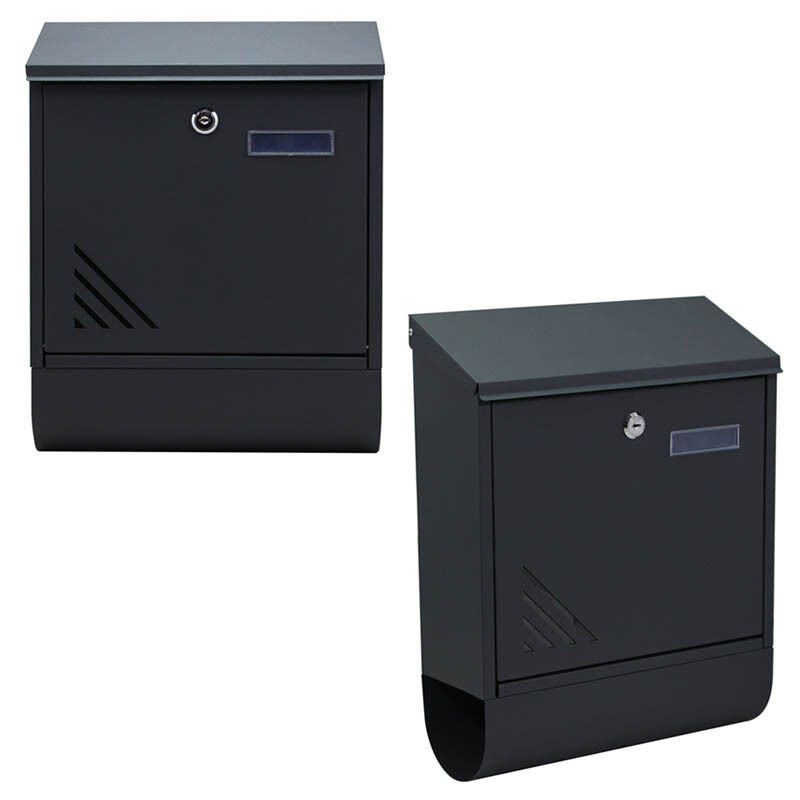 briefkasten edelstahl anthrazit wandbriefkasten postkasten mit zeitungsfach neu ebay. Black Bedroom Furniture Sets. Home Design Ideas