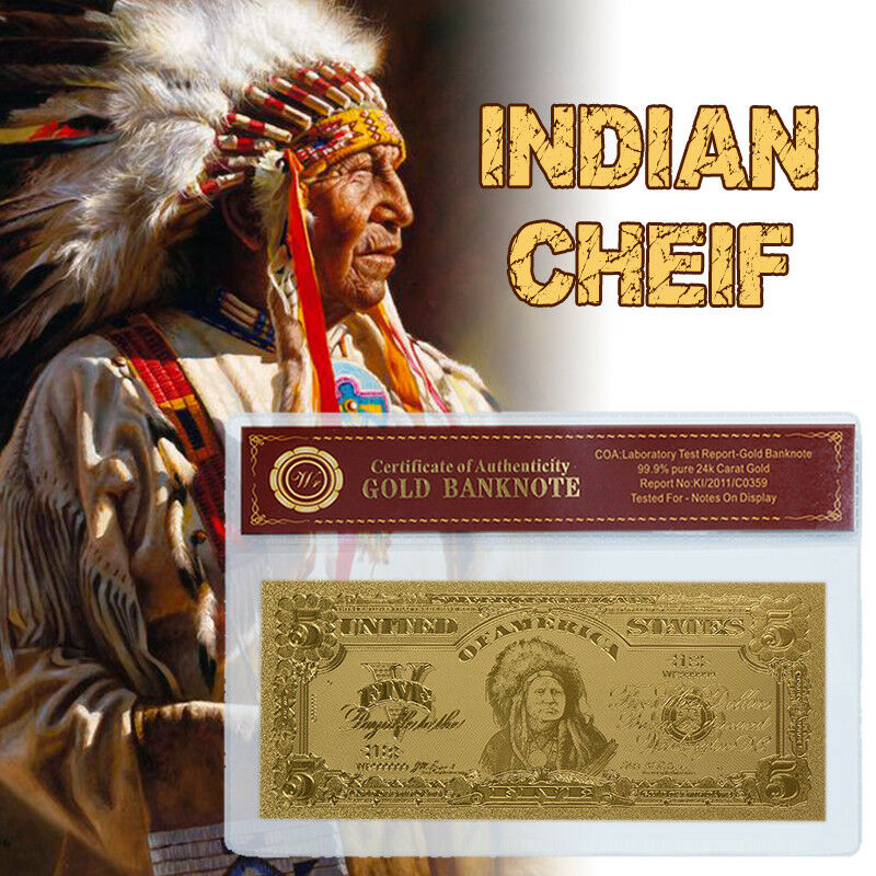 Wr Chief Indian 1899 5 Silver Certificate Bank Note Gold Paper