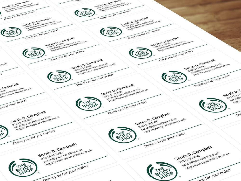 Personalised labels stickers for bodyshop sales representatives distributors ebay