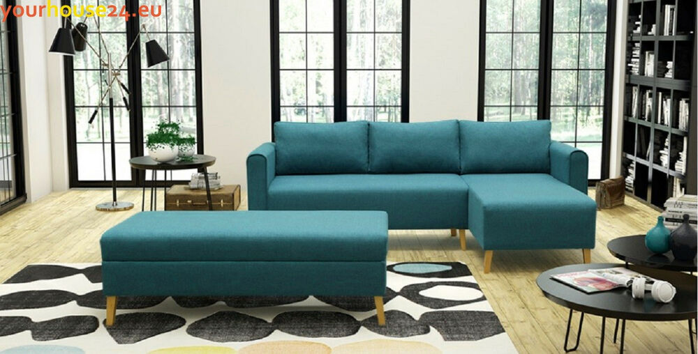 ecksofa lahti mit schlaffunktion puff bettkasten eckcouch set couch blau grau ebay. Black Bedroom Furniture Sets. Home Design Ideas