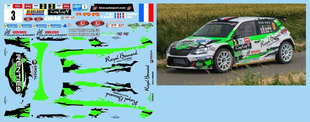 skoda fabia r5 bouffier rally ypres 2017 decals 1 43 ebay. Black Bedroom Furniture Sets. Home Design Ideas
