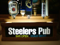 STEELERS 7 BEER TAP HANDLE DISPLAY  LED LIGHTED BAR SIGN BUILT IN