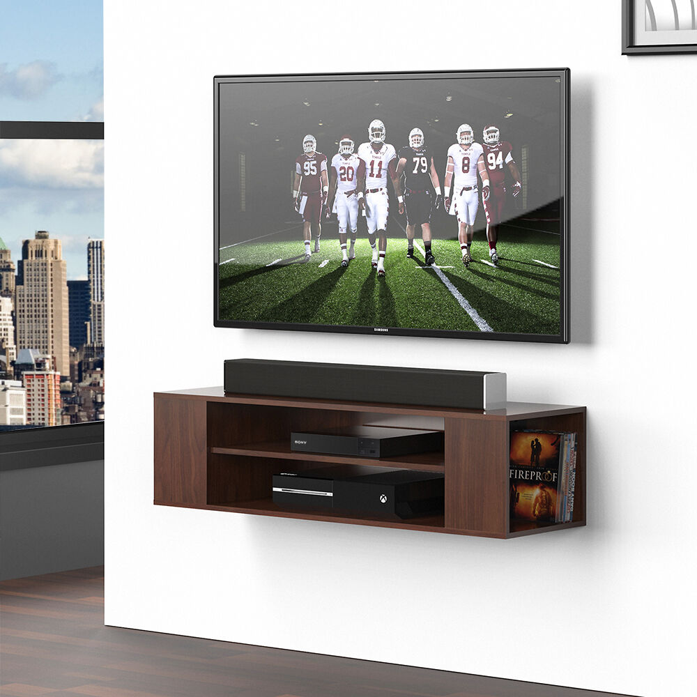 Details About Fitueyes Wood Floating Shelves Wall Mount Tv Stand Media Console For Lcd Brown