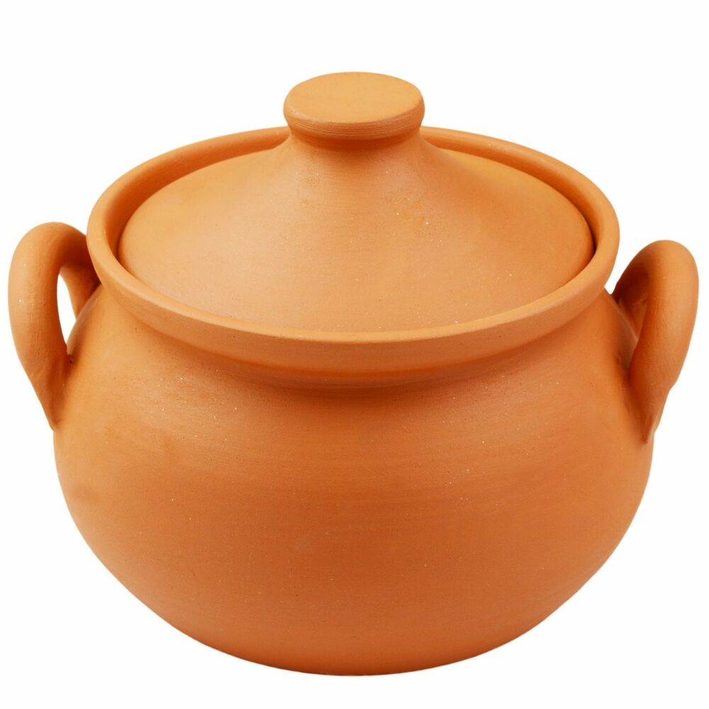 cooking clay terracotta pot with lid and handles 1 5 l. Black Bedroom Furniture Sets. Home Design Ideas