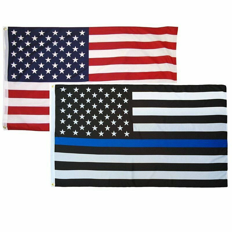 Details about 3 x5  Combo Pack Thin blue Line Police Support + American USA  Flag 2 Grommets f7d606f1354