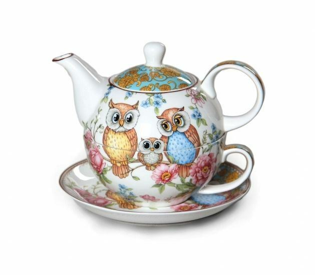 new owls tea for one owl teapot w cup in one set fine bone china xmas gift ebay. Black Bedroom Furniture Sets. Home Design Ideas