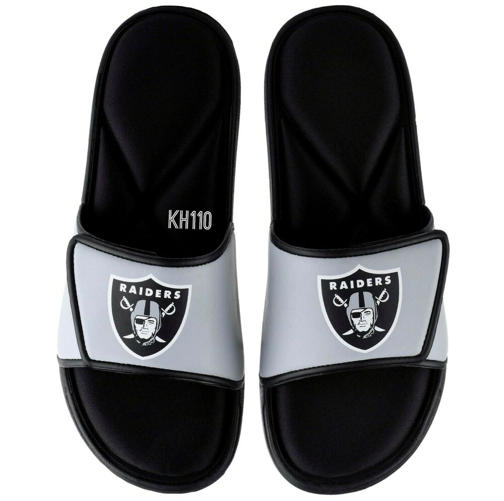 8258ac7470e NFL Oakland Raiders Men s Deluxe Foam Sport Slide Sandals