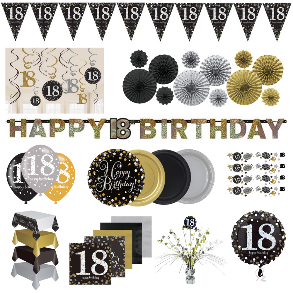 18th Birthday Party Decorations Black Gold Tableware
