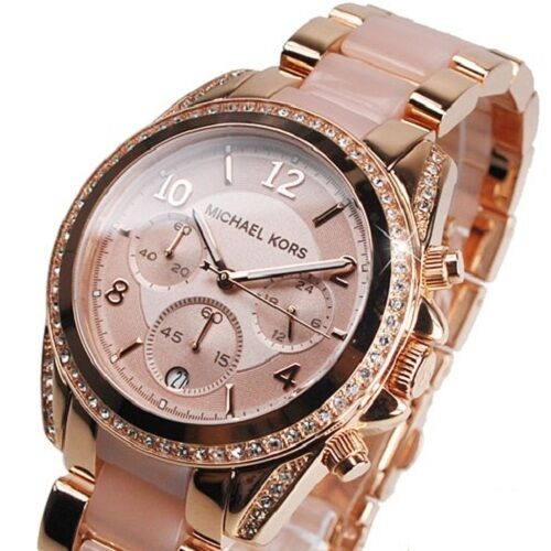 NEW MICHAEL KORS MK5943 ROSE GOLD CRYSTAL CHRONOGRAPH ...