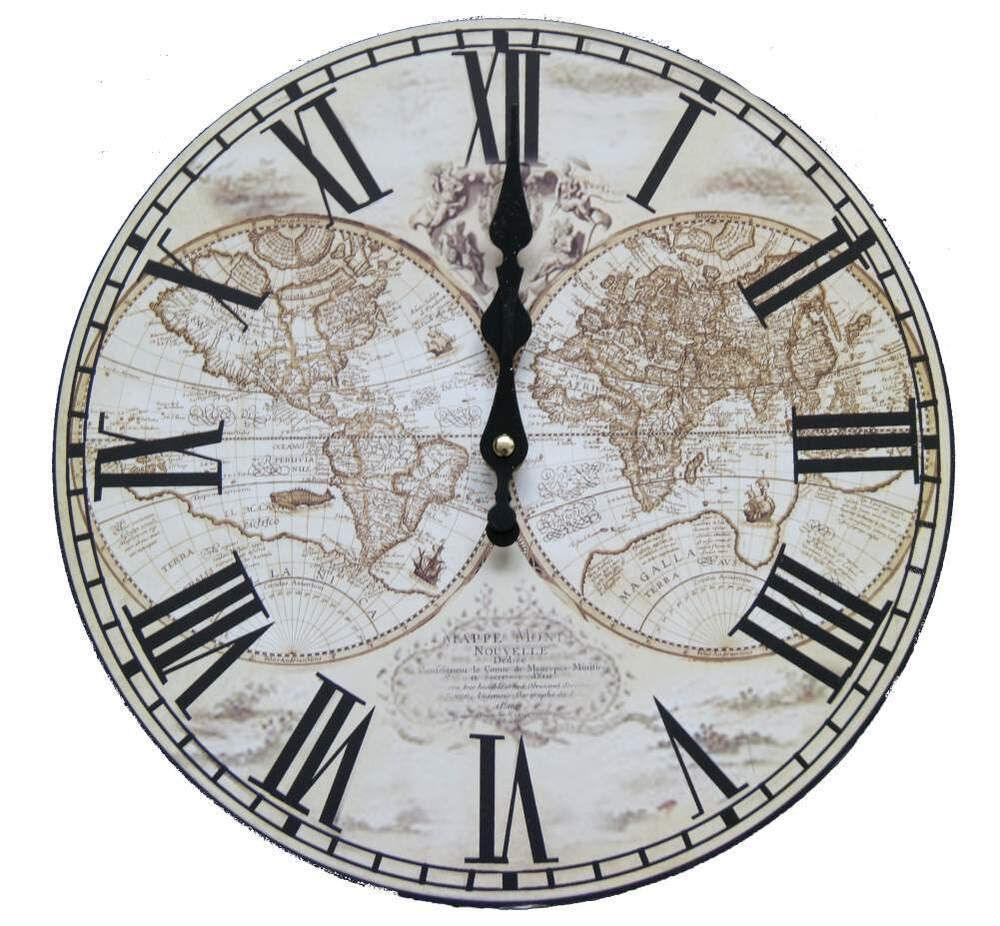 vintage wanduhr analog k chenuhr weltkarte globus worldmap retro r mische zahlen ebay. Black Bedroom Furniture Sets. Home Design Ideas