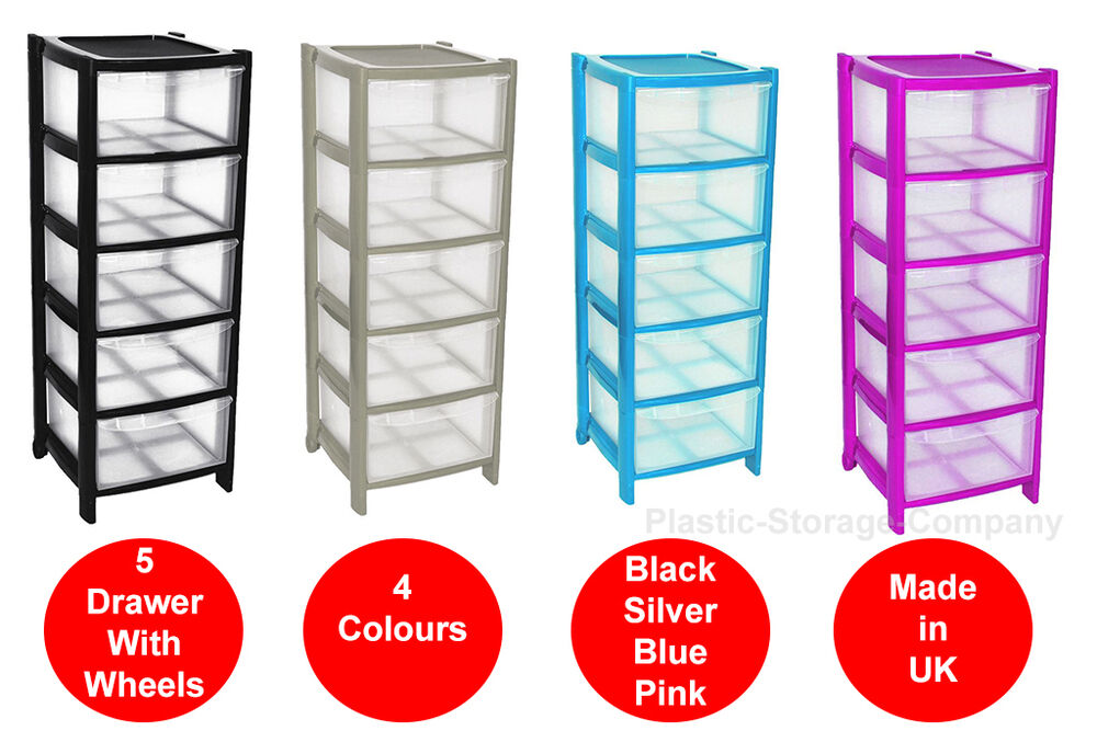 Details About 5 Drawer Plastic Storage Tower 4 Colours Strong Home School Wheels