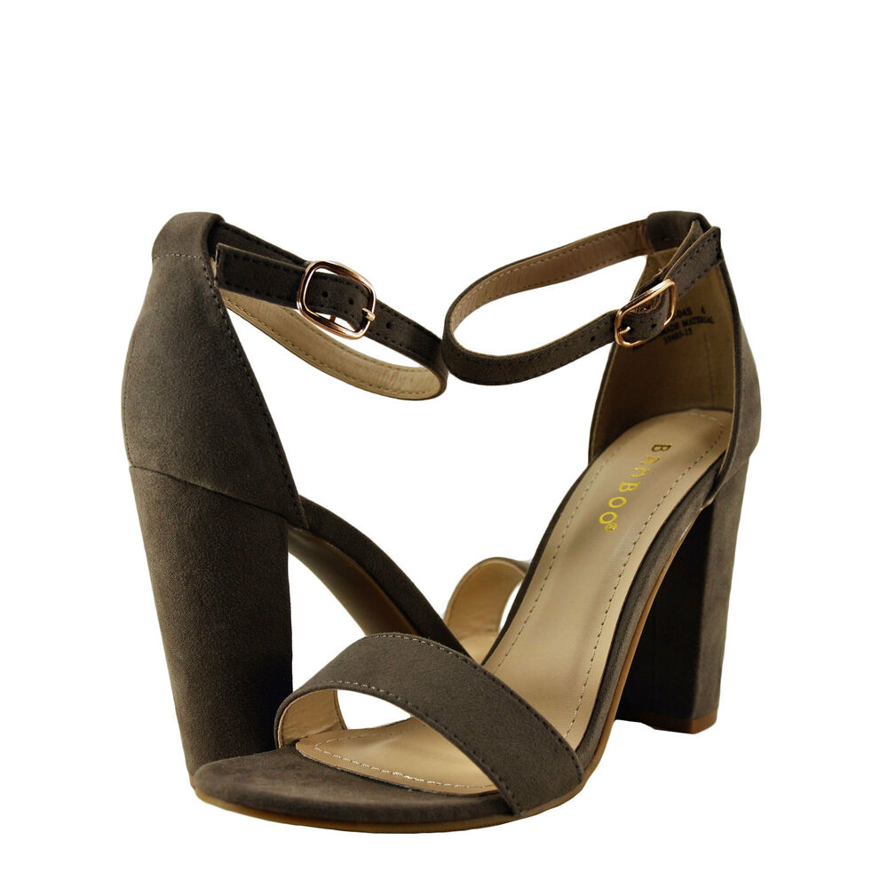 7b0e90f2723 Details about Women s Shoes Bamboo Rampage-04S Single Band Chunky Heel  Sandal Taupe  New