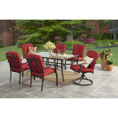 Details About 7pcs Outdoor Patio Dining Room Set Steel Cushions Swivel Chairs Garden Furniture