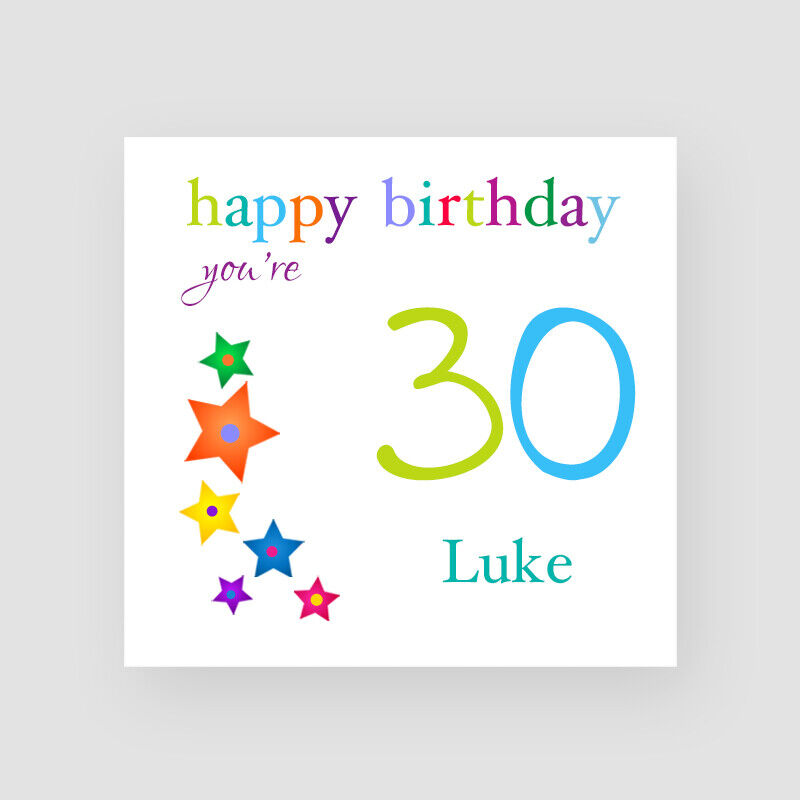 Details About Personalised Handmade Stars 30th Birthday Card